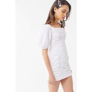 UO 🦋 Ramona ruched puffed sleeve mini dress
